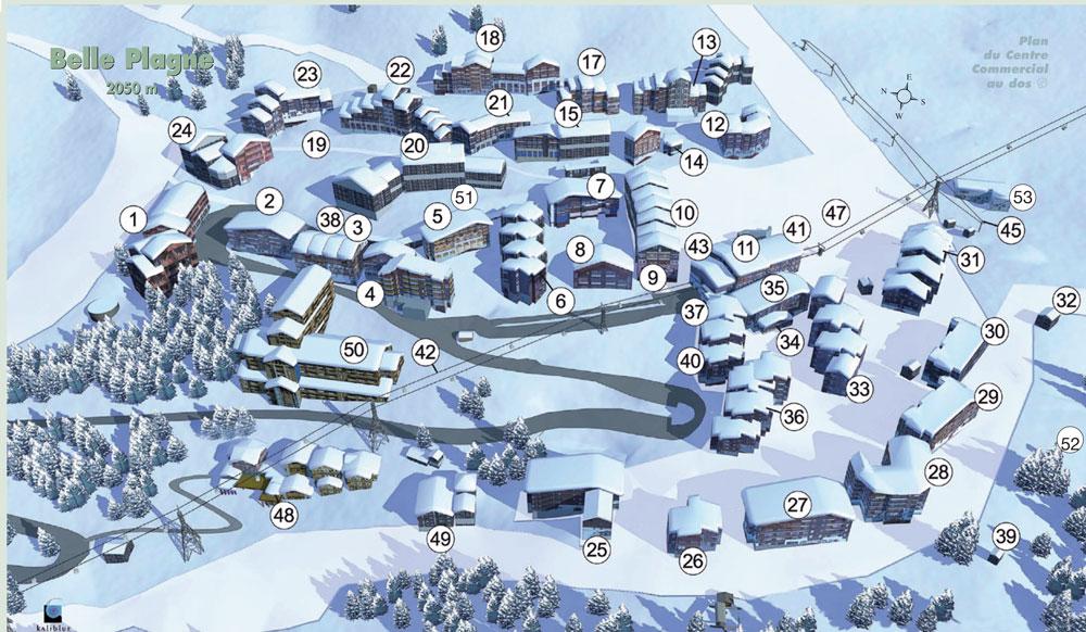 LA Plagne village maps catered self catered ski holidays