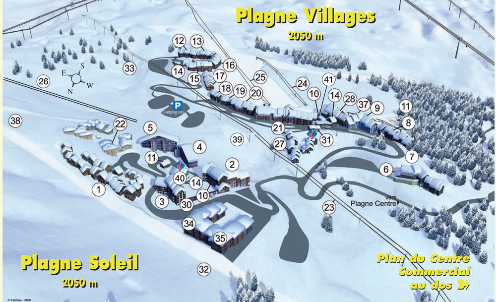 LA Plagne village maps catered self catered ski holidays